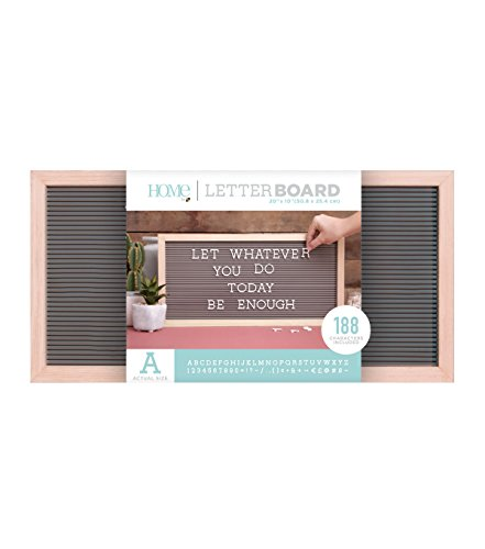 American Crafts 20 x 10 Inch Frame with Gray Die Cuts with a View Letterboards, 20 x 10, Natural