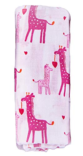 Muslin Swaddle Blankets | Organic Cotton Baby Swaddles for Girls | Premium Soft Receiving Sleep Swaddling Blanket | Newborn Baby Shower Registry Girl Gift | Pink Giraffe | Hearts ()