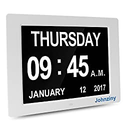 Johnziny 12 Inch Digital Calendar Day Clock- Kitchen Wall Alarm Clock- Extra Large Display Font Numbers & Impaired Vision Electronic Clock for Seniors
