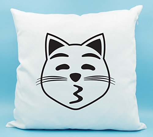 Kissing Cat Face Emoji Pillow Cover - Kissing Cat Face with Closed Eyes Emoji Pillow Cover - Kissy Cat Pillowcase - Cat Kiss Face Emoji Cushion - - Eye Cat Chanel
