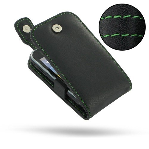 PDair T41 Black / Green Stitchings Leather Case for Samsung Galaxy Pocket GT-S5300 (Samsung Pocket S5300 compare prices)