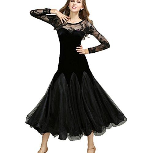 Moderna Wqwlf Pratica Danza Manica s La Da Gonna Abiti Di Gara Per Professionale Donne Ballo Pizzo Hollow Tuta Xl Le Valzer Black Performance Back qxwUxX4T