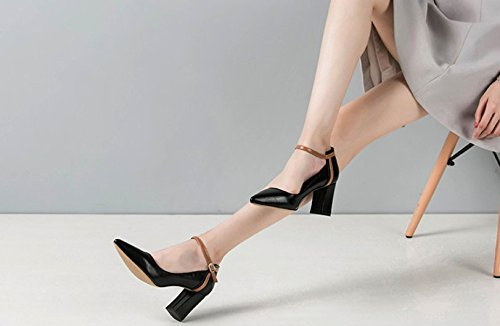 All MDRW Elegant Tip With A Rough High Spring Work Match Lady Leisure Shoes 38 7Cm Buckle Shoes Heels The Black qq5UZxRrw