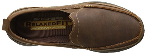 Skechers Mens Superior Gains Relaxed Fit Slip On Leather Loafer Brown Dark Brown
