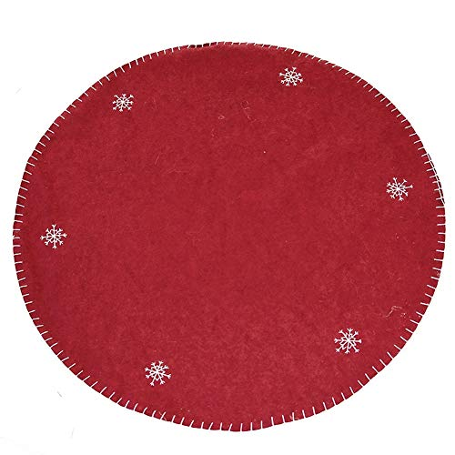 Wizard 2 Embroidery - Small Christmas Tree Skirt Soft Embroidery Long Beard Wizard Christmas Decoration Wool Red Black 100cm Diameter (Color : RED A)