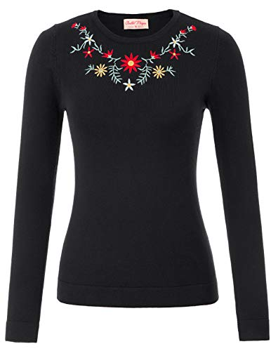 Classic Crew Embroidered Sweatshirt - Belle Poque Women's 1950s Retro Embroidered Sweater Crew Neck Long Sleeve Pullover Sweater Black Plus Size 2XL BP781-1