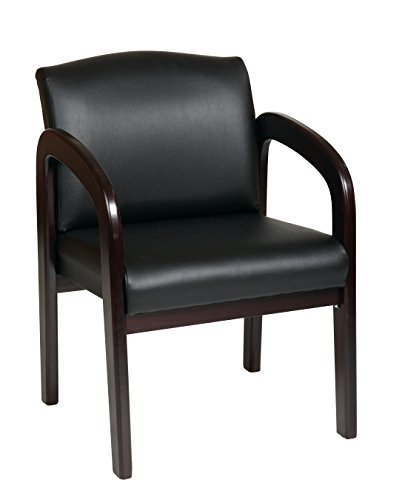 Office Star Visitors Chair with Espresso Finish Base and Arms, Black Faux ()