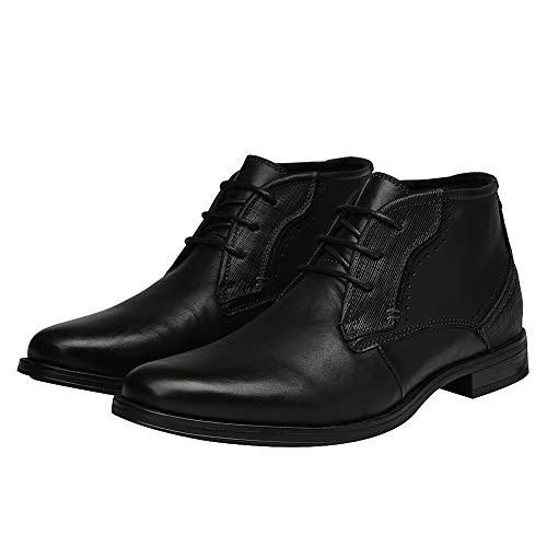 Black a Toe High Rismart Round Chukka Leather Popular Ankle Men's Boots B1xqwS7p