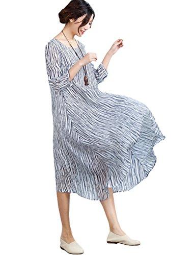MatchLife Femme Rayure Manches 3/4 Bleu Robe