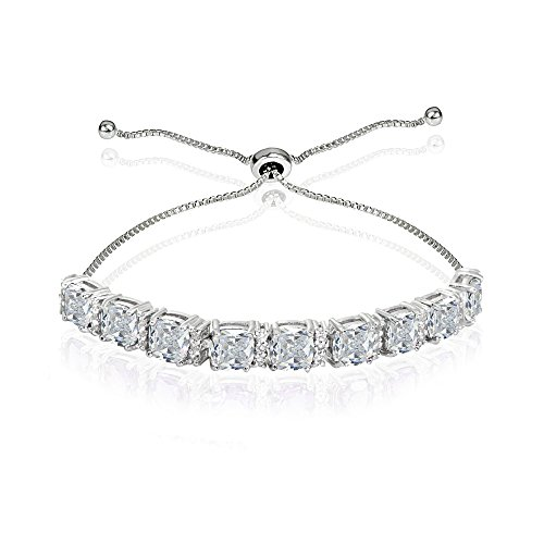 (Sterling Silver Created White Sapphire Cushion-Cut Adjustable Tennis Style Bolo Bracelet for Women Teens Girls)