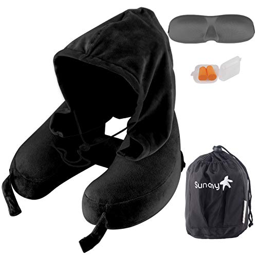 Neck Pillow Inflatable Travel Pillow Comfortably Supports The Head, Neck and Chin, Airplane Pillow with Soft Velour Cover, Hat, Portable Drawstring Bag, 3D Eye Mask and Earplugs (Black)