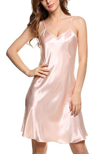 Knee Length Chemise (Langle Satin Chemise Womens Lingerie Outfits Sexy Sleepwear Loungedress (Pink, Small))