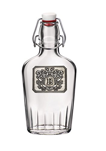 Personalized Glass Pocket Flask - Monogram Initial Pewter Engraved Crest - Novelty for Weddings, Birthdays or any Special Occasions - Pick Your Letter (B, 8.5OZ)