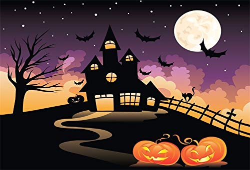 LFEEY 7x5ft Full Moon Halloween Night Backdrop Cartoon Sky Stars Bats Haunted Castle Pumpkin Ghost Face Jack-O-Lantern Photography Background Cloth Hallowmas Party Photo Studio Props -