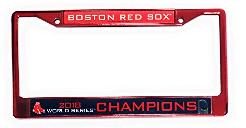 (Boston Red Sox 2018 World Series Champions Rico Chrome Color Frame Metal License Plate Tag Cover Baseball)