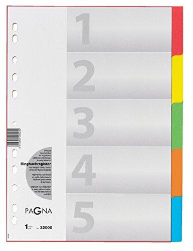 5-farbig mit Deckblatt aus stabilem Karton 2er Pack Pagna 32000-20 Register 5-teilig