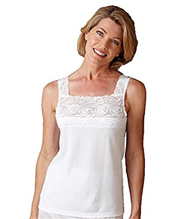 Cuddl Duds Peek-A-Boo Camisole, White, 1X - Misses, Womens
