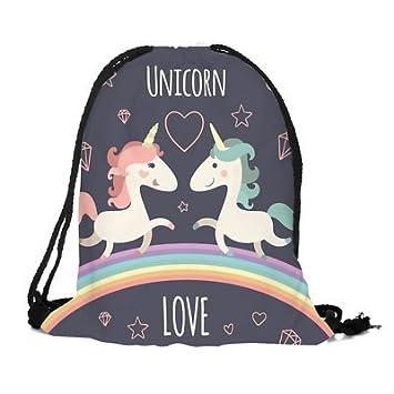 cdda1f56f7 Emoji Unicorn Pikachu Pokemon Bulk Drawstring Bag Backpack Party Bag Filler  Gift Movie Gym PE School Swimming (1x Unicorn Love)  Amazon.co.uk  Sports    ...