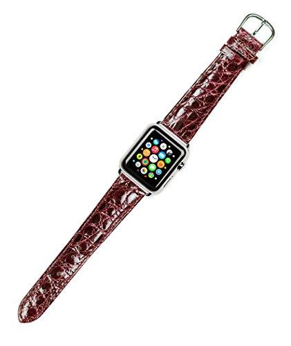 Debeer Replacement Watch Strap - Genuine Crocodile - [Short Length] - Burgundy - Fits 38mm Apple Watch [Silver Adapters]