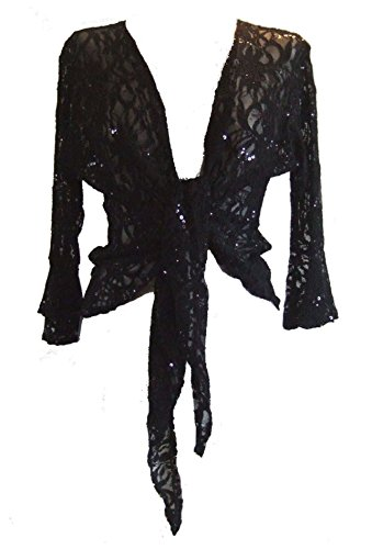 Black Sparkly Sequin Lace Front Tie Evening Bolero Shrug. Size 10/12 (Sparkly Fancy Dress)