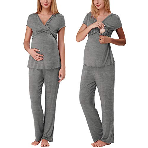 (Iusun Women's Maternity Tops + Long Pants Pajamas Set Plus Size Mom Nursing Baby Short Sleeve Comfy Leisure T-Shirt Breastfeeding Pregnants Clothes)