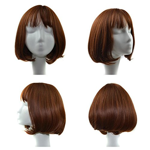 Short Wigs, Inkach Women Lace Front Lifelike Hair Wig Heat Resistant Charming Girls Synthetic Full Wigs (C)