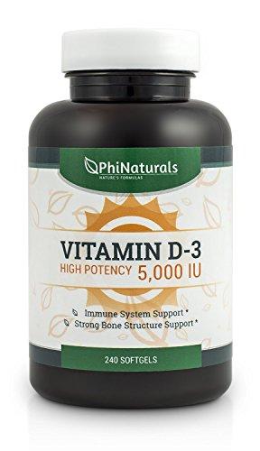 Phi Naturals Vitamin D3 5000 IU Softgels, 240 - 41vOybcRf8L - Phi Naturals Vitamin D3 5000 IU Softgels, 240