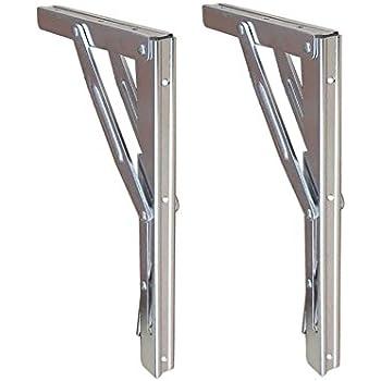Folding Shelf Brackets - Heavy Duty Bench Table Folding Shelf or Bracket, Max. Load 550lbs ( long release handle), (Sold In Pairs)