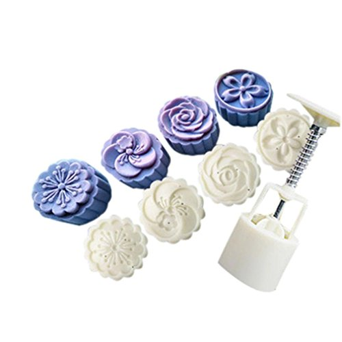 Moon Cake Mould,Hunzed 4 Style Stamps 50g Round Flower Moon Cake Mold Decorating White Set Baking Mold Mooncake Decor