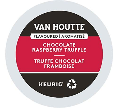 Van Houtte, Raspberry Chocolate Truffle, Single-Serve Keurig K-Cup Pods, Light Roast Coffee, 96 Count (4 Boxes 24 Pods)