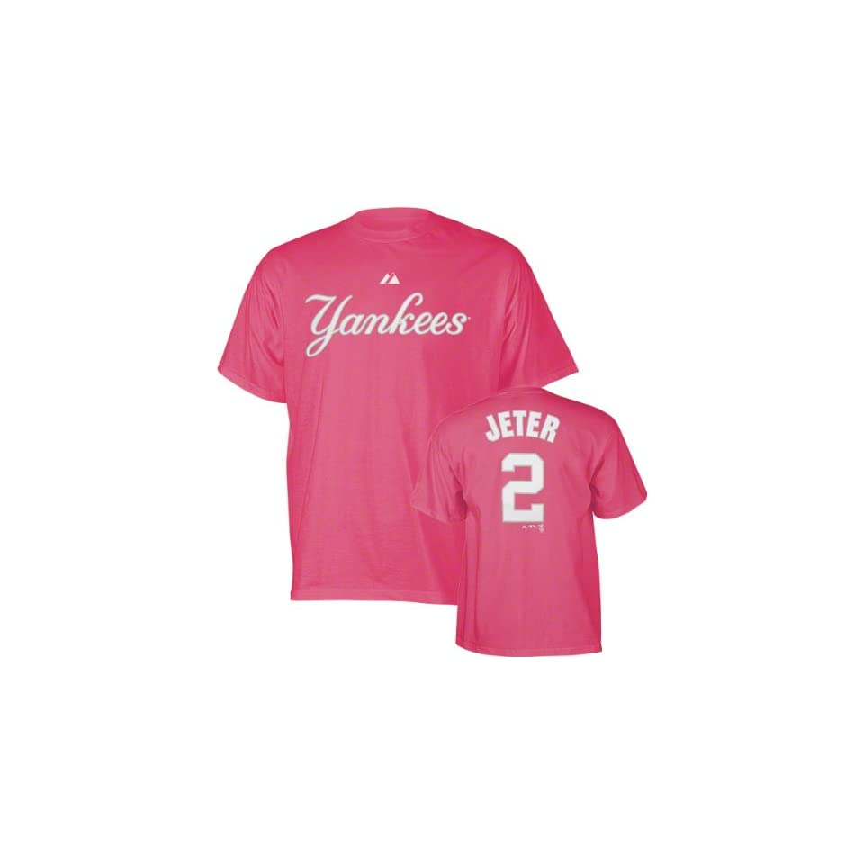 Derek Jeter Girls 7 16 Raspberry Pink Name and Number New York Yankees T Shirt