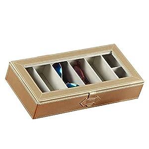 UnionPlus 5-Slot Eyeglass Sunglass Glasses Organizer Collector - Crocodile Faux Leather Storage Case Box (Pearl Gold)