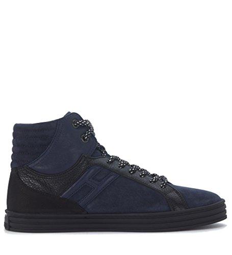 Sneaker Hogan Rebel R141 en gamuza azul claro y piel negra Azul