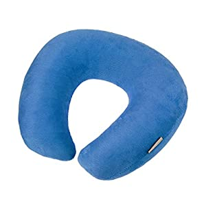 Fakeface Soft Velour Inflatable Memory Foam O Shape Comfort Neck Support Headrest Travel Aeroplane Sleeping Pillow Car Sofa Bed Reading Watching TV Relax Rest Cushion + Storage Pouch