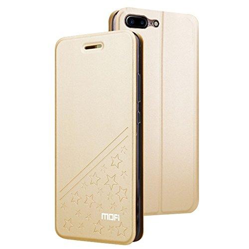 à Plus iPhone Étoile Phone Flip pointes Housse cuir MOFI Fashion Gold Horizontale amp; JIALUN pour Gold Color cinq simple PU protection 7 support avec en 7wnfz