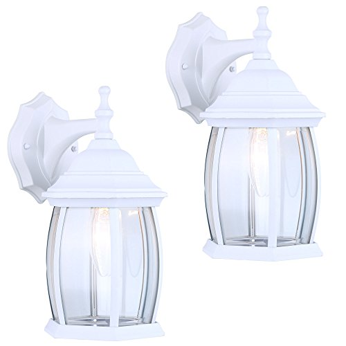 Beveled Fixture Clear Light Glass - 2 Pack of Exterior Outdoor Light Fixture Wall Lantern Sconce Clear Curved Beveled Glass, White Finish