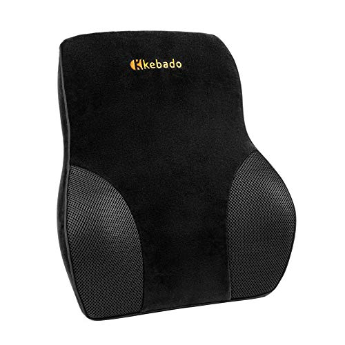 - kebado Premium Lumbar Pillow Support for Car - Full Lumbar Back Support - Two Straps Office Chair Black Car Lumbar Support - Memory Foam Orthopedic Back Pillow - Lumbar Support Cushion