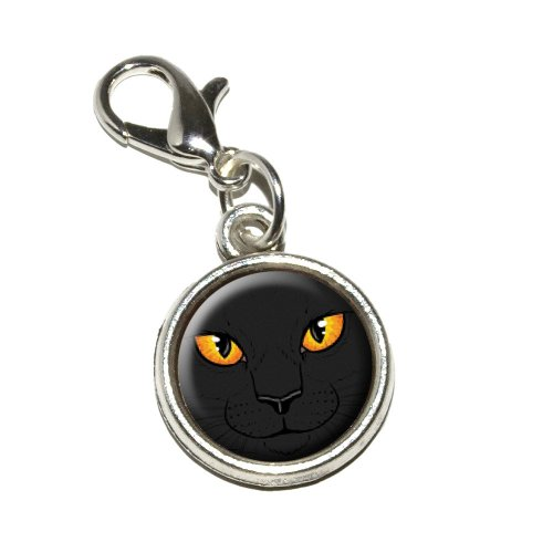 Graphics and More Black Cat Face Pet Kitty Halloween Antiqued Bracelet Pendant Zipper Pull Charm with Lobster -