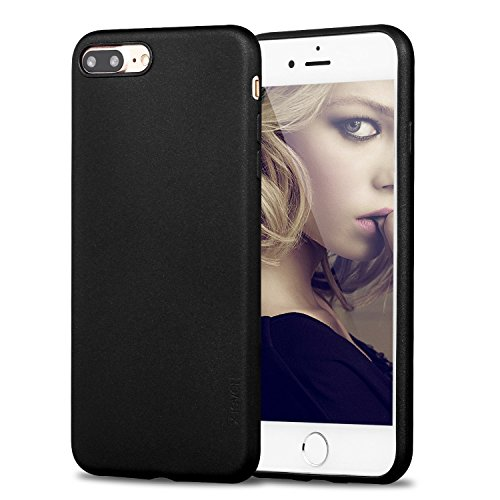 X-Level iPhone 7 Plus Case, iPhone 8 Plus Case,Ultra Thin Soft TPU Back Cover Phone Case for Women Matte Finish Coating Grip Cover Compatible with iPhone 7 Plus (2016)/iPhone 8 Plus (2017) - Black
