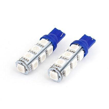 eDealMax 2 x del coche del vehículo T10 Azul 5050 SMD 13 LED Guage lateral de