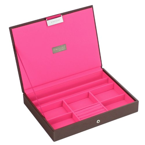 SPECIAL OFFER 35% OFF | Stackers | Jewelry Box | classic chocolate brown & bright pink stacker lid