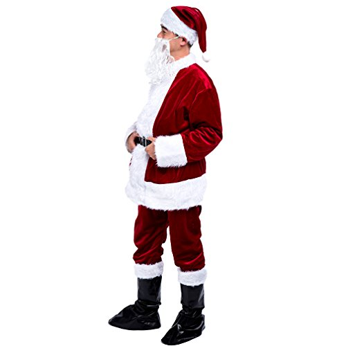 VeMee Santa Claus Costumes Christms Santa Fancy Suits Dress Adult Santa Costumes Holiday Party Cosplay ()