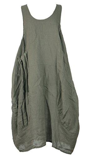 (Ladies Women Italian Lagenlook Plain Sleeveless One Pocket Linen Midi Dress One Size Plus (Khaki, One Size))