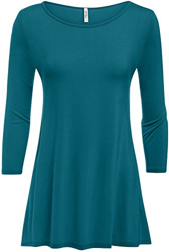 Simlu Womens Tunic Tops Leggings Reg Plus Size 3/4 Sleeve Tunic Shirt-USA Teal XXX-Large ()