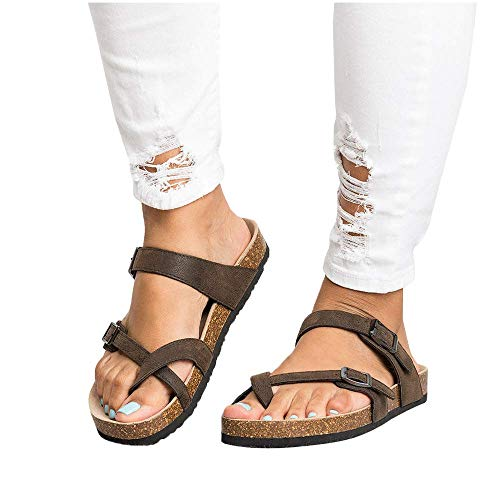 ADOSOUL Womens Thong Flat Sandals Gladiator Buckle Strappy Cork Sole Summer Slides, Casual Ankle Buckle Strap Flat Slides
