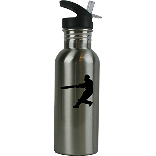 Personalized Custom Hitting Cricket Player Stainless Steel Water Bottle with Straw Top 20 Ounce Sport Water Bottle Customizable by CustomGiftsNow