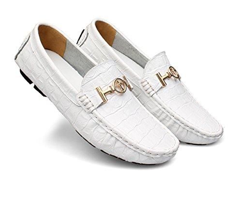 Cuoio Ommda Casual Mocassini Bianco Uomo Uomo Pantofole Eleganti TSwXASqr