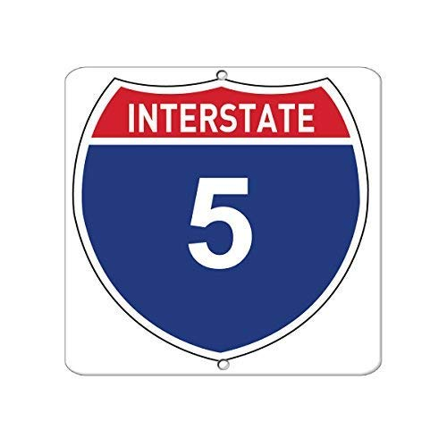 Shirllyn New Metal Aluminum Sign Interstate 5 Traffic Tin Sign 8x12 Inch ()
