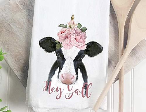 Hey y'all farmhouse cow flour sack tea towel