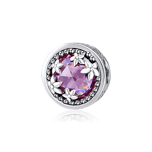CKK Sterling Silver Magnolia Bloom Flower Charms with Pink Classic Crystal Charms for Pandora Bracelets Jewelry Making